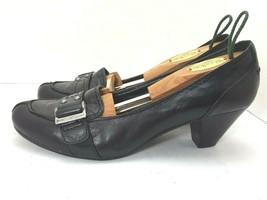 Nine West Pump Dress Shoe Buckle Black Leather, US Size 9 M - $29.68