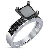Princess Cut Diamond Solitaire Wedding Ring Solid 14K White Gold Finish - $71.99