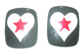 LARGE VINTAGE BLACK WHITE SIGNED MODERNIST FUN HEART RED STAR POTTERY EA... - $45.00