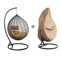 Patio Hanging Chair Egg Shape Outdoor Brown Wicker Proch Swing Chair &Fr... - $317.99