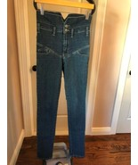 Pre-owned CHEAP MONDAY High Waisted Blue Wash Jeans SZ 27/34 - $68.31