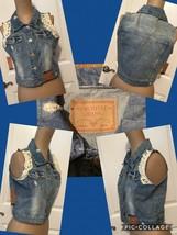 NEW! Amethyst Jeans Distressed Denim Sleeveless Top/Vest Sz Medium Lace ... - $9.89