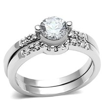 HCJ SILVER TONE 2 PRONG CUBIC ZIRCONIA ENGAGEMENT & WEDDING RING SET SIZE 5 - $14.99