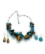 Turquoise Dyed Howlite Tigers Eye Cluster Wire Choker Necklace and 2 Pr ... - €28,16 EUR
