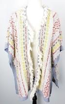 CAbi Open Cardigan Sweater Jacket XS Striped Fringe Red Blue White Gray ... - $59.39