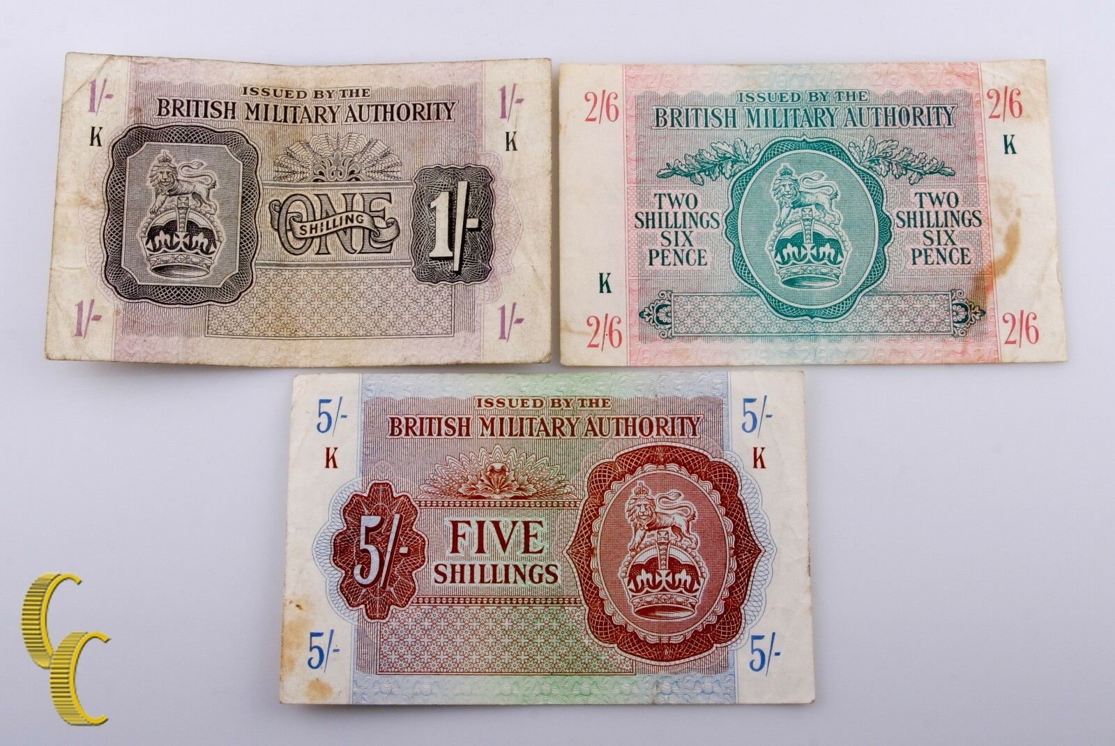 1943 N. Africa Británicas Militar Authority 3 Pc Billete 1 ,2 1/2 ,5 Chelines (