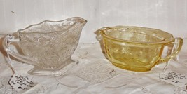 2 Antique Glass Creamers Pineapple Floral Anchor Hocking Princess Topaz ... - $5.94