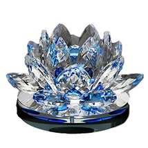PANDA SUPERSTORE Charming Blue Crystal Lotus Car Decorations Perfume Auto Orname