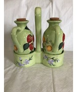"""Gibson """"Fruit n' Berries"""" Carafe Decanter Set Unused Green Claire Murray... - $36.62"""