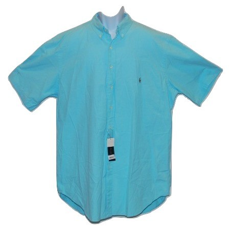 Men's Big & Tall Casual Classic Fit Blue Button Front Shirt Polo Ralph Lauren