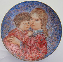 Edna Hibel Mothers Day Collector Plate Erica and Jamie Porcelain - $27.99