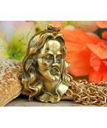 Vintage Jesus Christ Face Head Figural Pendant Chain Necklace Religion - $74.95