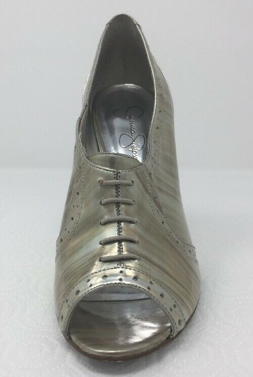 Jessica Simpson NICHOLA Metallic Booties heels Iridescent Patent leather 8.5 image 5
