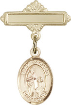 14K Gold Baby Badge with St. Zachary Charm and Polished Badge Pin 1 X 5/8 inch - $416.46