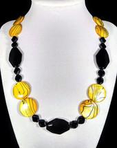 "20"" Yellow & black striped shell and artglass bead necklace - $70.00"