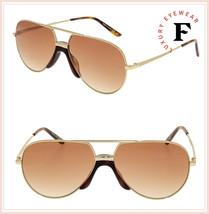 GUCCI 0432 Gold Brown Aviator Metal Retro Sunglasses GG0432S Unisex Authentic - $301.95