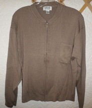Chico's Zip Front Ribbed Knit Cardigan Sweater Chico's Size 3 L/XL Taupe - $9.75