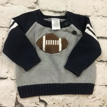 Gymboree Boys Sz 3-6Mos Football Sweater 100% Cotton Button Neck Raglan - $11.88
