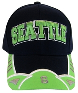 Seattle Men's 2-Tone Curved Brim Adjustable Baseball Cap Green/Navy - $11.95