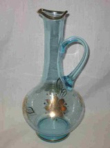 "Mid Century Modern 10 3/4"" Blue Glass Decanter Missing Stopper - $38.52"
