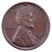 1918-D 1C Lincoln Cent in AU Condition, Brown Color, Well Struck, Nice L... - $34.65