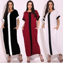 Women Oversized Casual Short Sleeve Striped Patchwork Long Maxi Sun Dress - $29.58