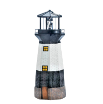 Solar Powered Lighthouse Statue with Rotating LED Light Spinning Garden ... - $47.99