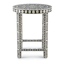 Bone Inlay Black Floral Side End Table Handmade Inlay Furniture,Camel bo... - $550.00