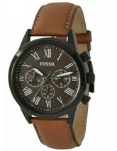 New Fossil Flynn Chronograph Brown Leather Men's Watch - £60.67 GBP