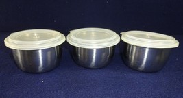 Vintage Foley Stainless Steel Store And Serve Replacement 3 Bowls w/ Lids - ₨1,335.55 INR