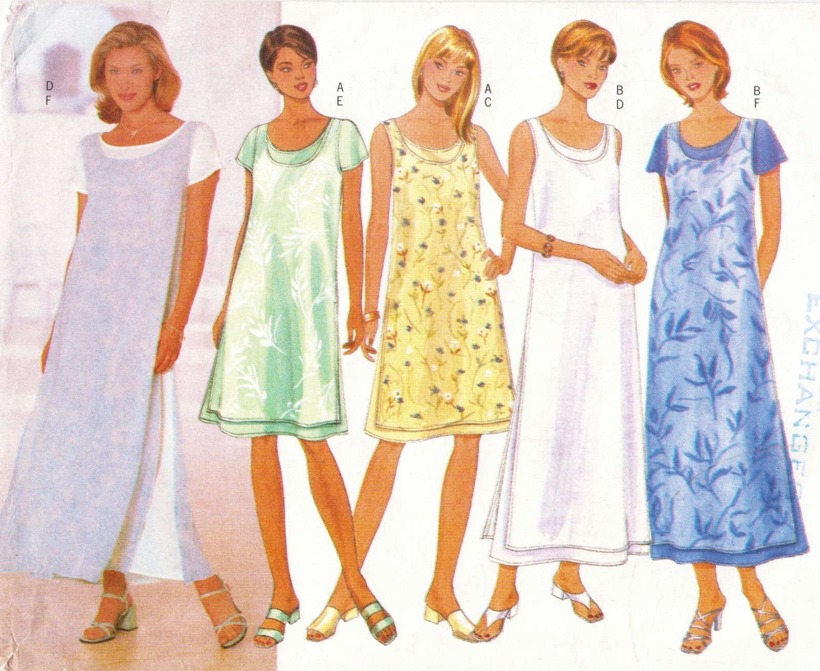 Misses Summer Loose Pullover A-Line Over Dress Slits 3 Lengths Sew Pattern 18-22