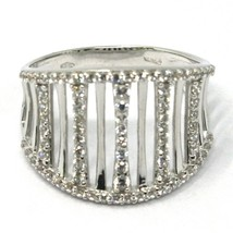 SOLID 18K WHITE GOLD BAND RING, MULTI WIRES, CUBIC ZIRCONIA, MADE IN ITALY image 2