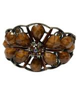 wide floral brown Multi Faceted rhinestone cuff clamper bracelet Boho - $14.03