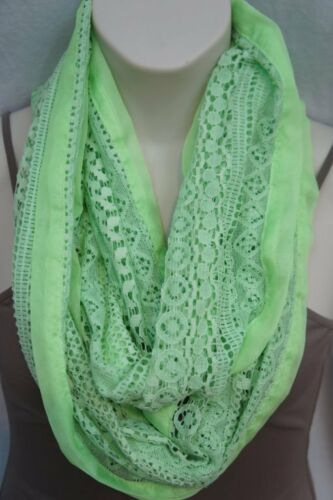 Collection Eighteen Infinity Loop Scarf Shock Green Chiffon Lace Cowl Scarf  image 2