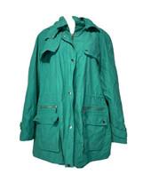 CALVIN KLEIN Sport Vintage Women Green Insulated Jacket Hood Cinch Waist... - $25.98