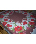 Vintage Startex poppies tablecloth with original tag - $48.00