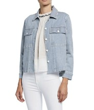 FRAME Blue And White Engineer Striped Shirt Mid Jacket Size XS - $71.25