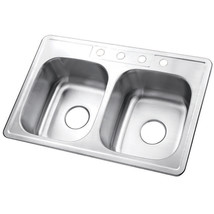 Gourmetier Studio GKTD33226 Self-Rimming Double Bowl Kitchen Sink, Satin Nickel - $70.99