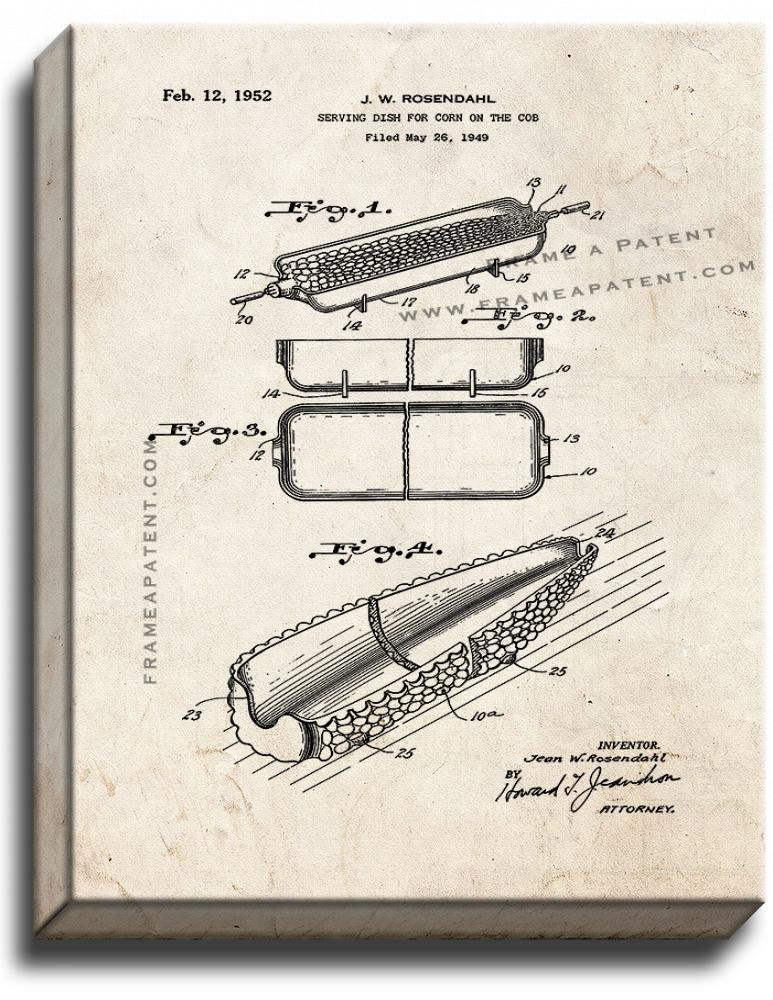 Primary image for Serving Dish for Corn On The Cob Patent Print Old Look on Canvas