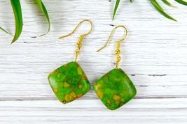Green Square Dangle Earrings, Simple Stone Earrings for Minimalist - $8.20