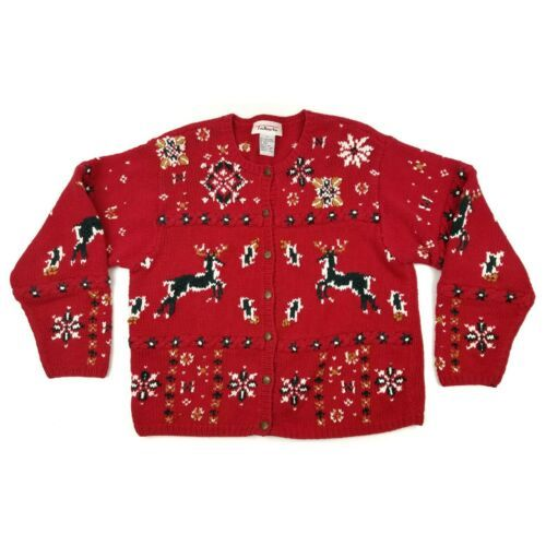 Primary image for Vintage Talbots Cardigan Sweater sz-Small Reindeer Winter Holiday Christmas