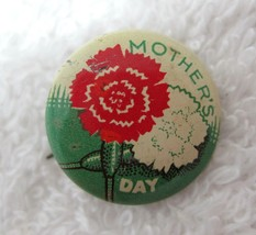 """Tin Litho Pinback Button Mother's Day Carnations 5/8"""" Super Tiny & Cute D3 - $9.90"""