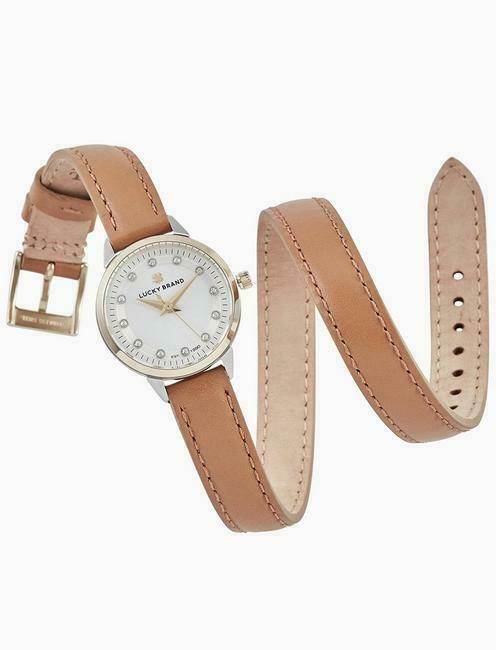 LUCKY BRAND Women's Torrey Mini Tan Leather Wrap Two Tone Watch LW00148 28mm NEW - $47.49
