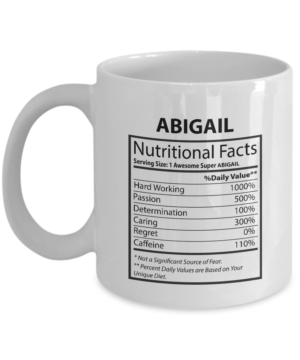 Our name is Mud mugs For kids - ABIGAIL Nutritional Facts-  Perfect gift For Bes
