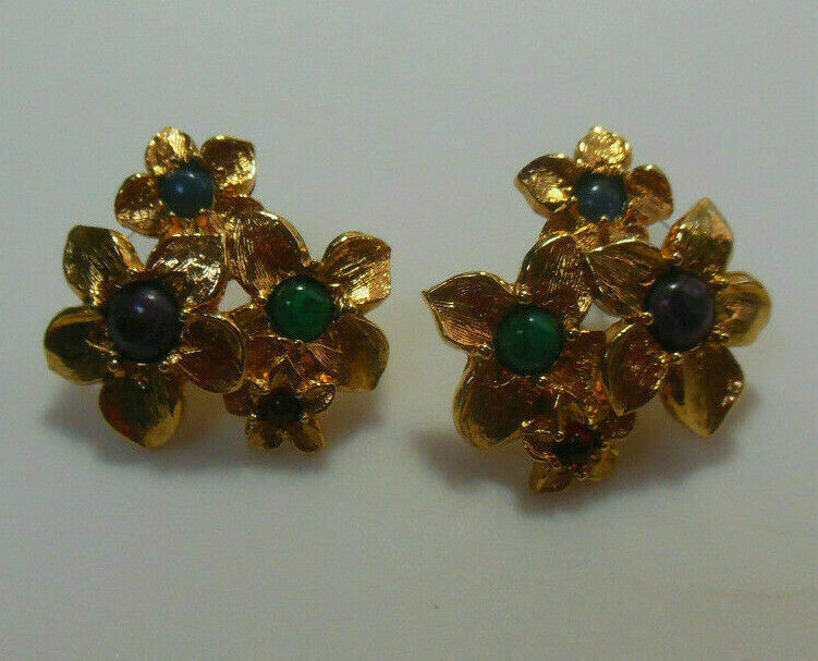 Primary image for Vintage Avon Gold-tone Floral Pierced Earrings