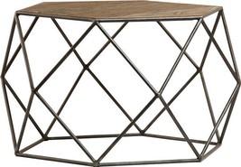 End Table DOVETAIL COBB Geometric Base Light Sealed Rustic - $889.00