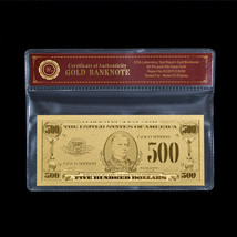 WR Proof US $500 Gold Foil Banknote 1:1 Nice Dollar Bill In Sleeve Colle... - $5.70