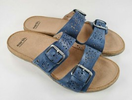 Earth Women's 11 Sapphire Blue Perforated Leather Sand Antigua Slide San... - $47.52