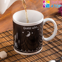 HEART LOVE BLACK MUG CHANGING COLOR CUP ROUND COFFEE TEA MAGIC HEAT SENS... - $14.84