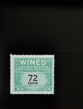 1942 72c U.S. Internal Revenue Cordial & Wine, Green Scott RE141 Mint F/... - $3.99